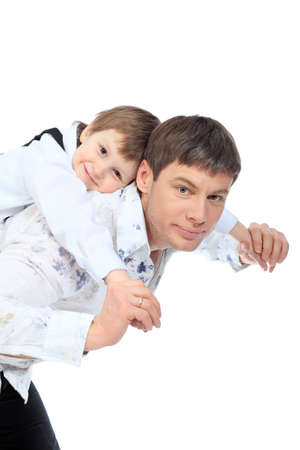 Happy father with his son. Isolated over white background. Stock Photo - 6596114