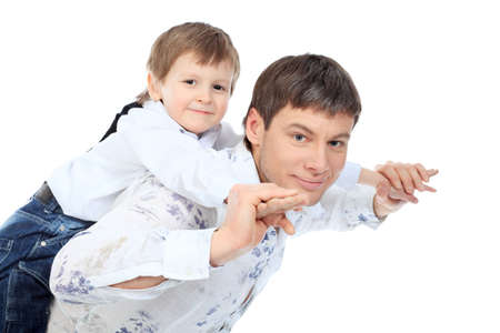 Happy father with his son. Isolated over white background. Stock Photo - 6595749