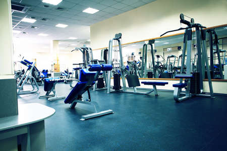 피트니스 클럽. 장비, 체육관 장치.