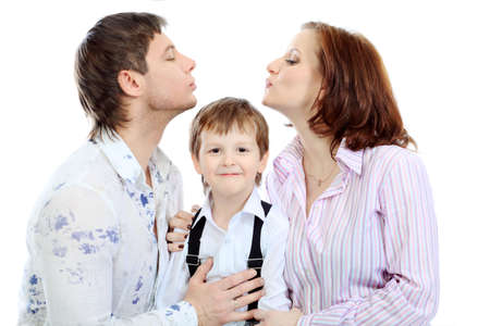 Portrait of a happy family. Isolated over white background. Stock Photo - 6625199
