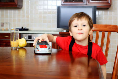 Little boy is playing with his toys at home. Stock Photo - 11692178