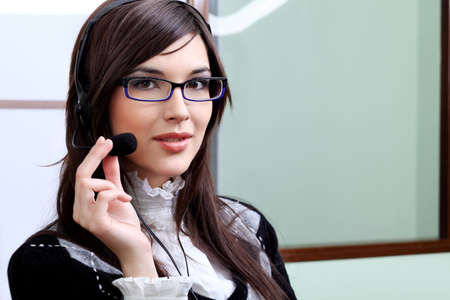 Business theme: beautiful businesswoman working at the office. photo
