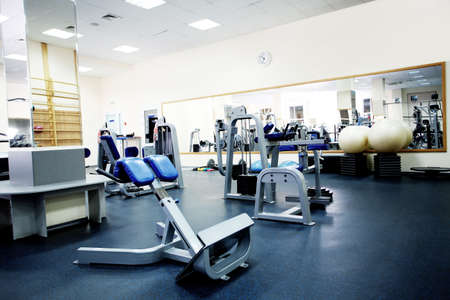 gym room: Fitness club. Equipment, gym apparatus. Stock Photo