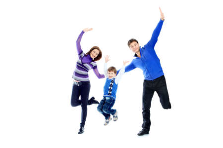 Portrait of a happy family jumping together. Isolated over white background. Stock Photo - 6710744