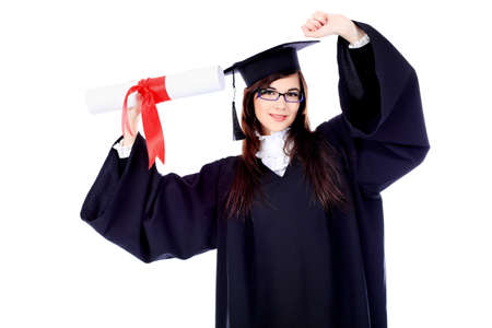 achiever: Educational theme: graduating student girl in an academic gown. Isolated over white background.