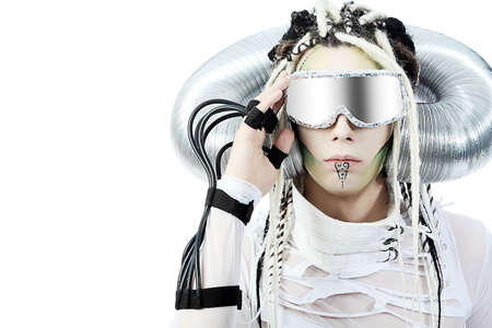cosplay: Shot of a futuristic young man with wires. Isolated over white background.