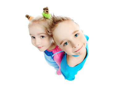 Portrait of a cute children. Isolated over white background. Banque d'images - 6799062