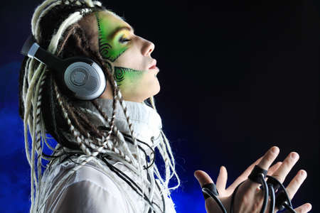 cosplay: Shot of a futuristic young man with wires.