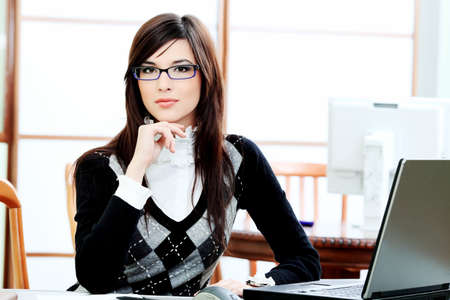Business theme: beautiful businesswoman working at the office. Stock Photo - 6864748