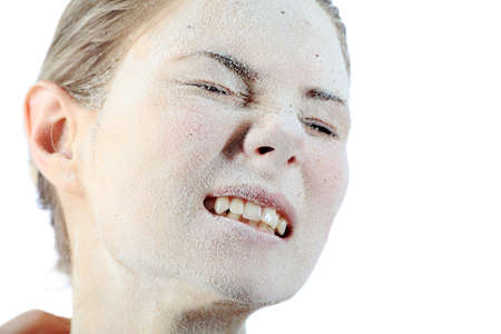 dryness: Portrait of a woman with beauty mask on her face. Spa, healthcare.