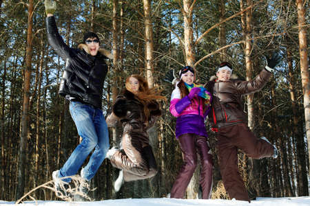 Group of young people having a rest outdoor in winter. Stock Photo - 6939587
