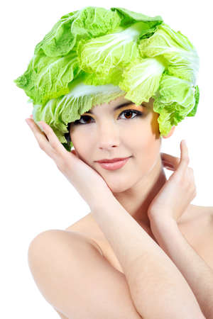 Shot of a beautiful young woman with vegetables headwear. Food concept, healthcare. Stock Photo - 7001446