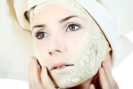 Portrait of a woman with beauty mask on her face. Spa, healthcare. photo