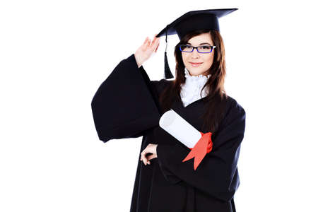 careerist: Educational theme: graduating student girl in an academic gown. Isolated over white background.