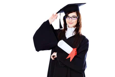 licenciatura: Tema educativo: promoci�n de ni�a de estudiante en un vestido de acad�mico. Aislado sobre fondo blanco. Foto de archivo