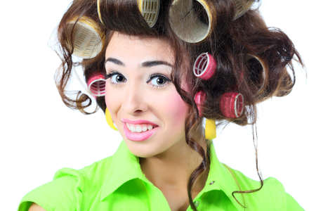crazy woman: Shot of a funny  woman housewife dressed in retro style.