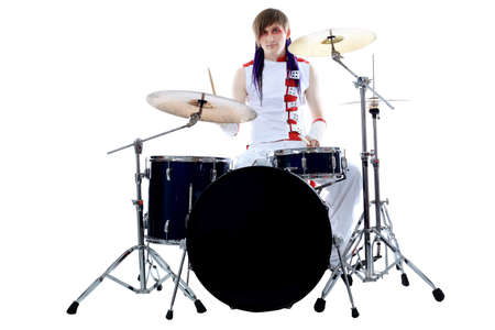 drummer: Rock drummer is playing his instruments. Shot in a studio.