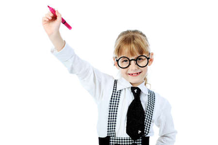 Shot of a little girl in glasses with a pen in her hand. Isolated over white background. photo