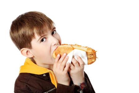 perro comiendo: Disparo de un ni�o de hambre con un sabroso hot dog.