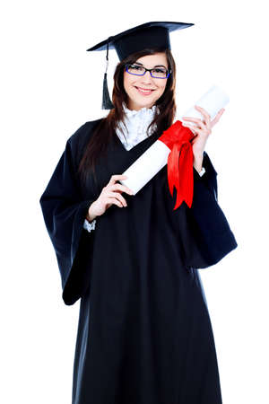 masters degree: Educational theme: graduating student girl in an academic gown. Isolated over white background.