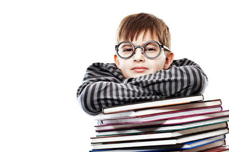 teenager thinking: Educational theme: funny teenager with books. Isolated over white background. Stock Photo