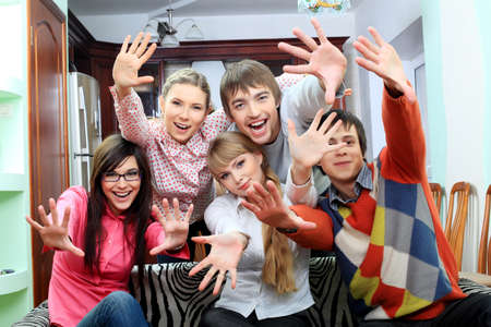Group of young people having fun together at home. photo