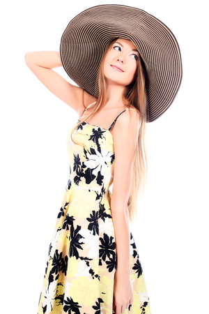 Portrait of a beautiful girl in a summer hat. Isolated over white background. Stock Photo - 7268807