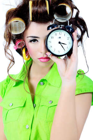 woman clock: Shot of a funny woman housewife dressed in retro style.