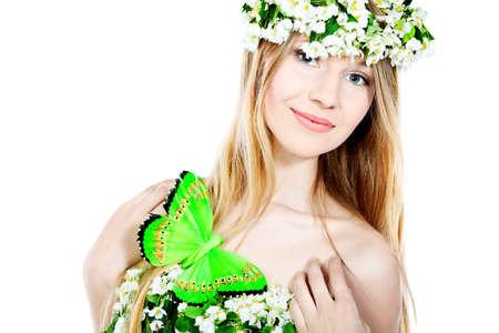arbol de manzanas: Retrato de una chica de primavera hermosas flores de �rbol de manzana.  Foto de archivo