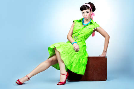 Portrait of a beautiful young woman in retro style. Stock Photo - 7315588
