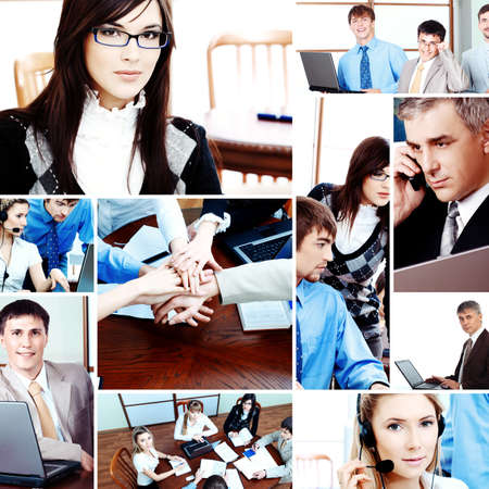 technology collage: background of a business people