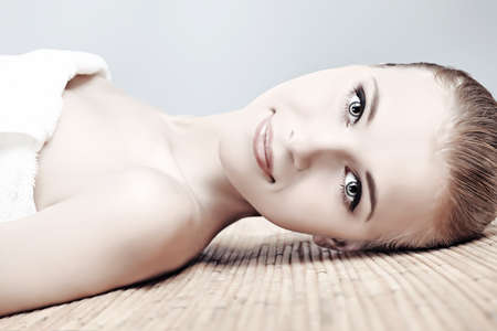 Portrait of a styled professional model. Theme: beauty, healthcare. photo