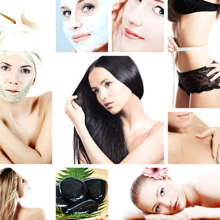 beauty salon face: spa background collage with a beautiful girls