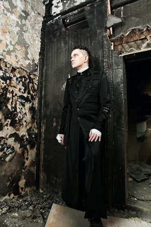 Shot of a scary man in gothic style. Halloween, horror. photo