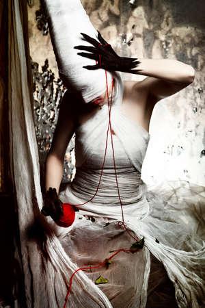 Shot of a twilight girl in white dress. Halloween, horror. Stock Photo - 7552247