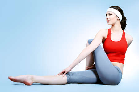 is slender: Shot of a sporty young woman. Active lifestyle, wellness, yoga. Stock Photo
