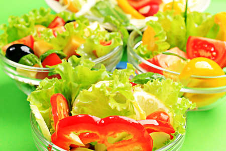 Food theme: fresh vegetable salads. photo