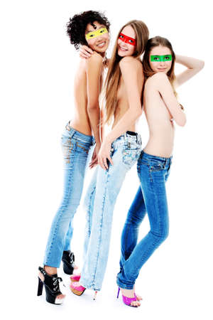Shot of artistic young women of different nationalites posing together. Isolated over white background. Stock Photo - 7632667