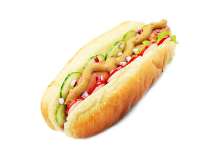hot sauce: Close up of hot dog. Fast food. Isolated over white background.