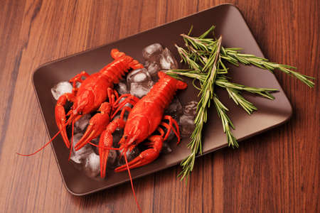 A dish with boiled crawfish with rosemary. photo