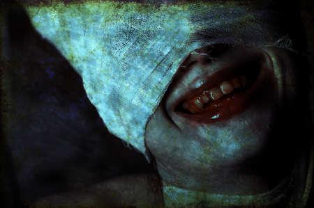 horror movie: Shot of a twilight girl in white dress. Halloween, horror.