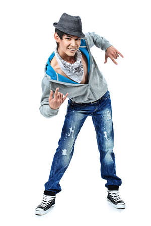 stylish men: Shot of a dancing young man. Isolated over white background.