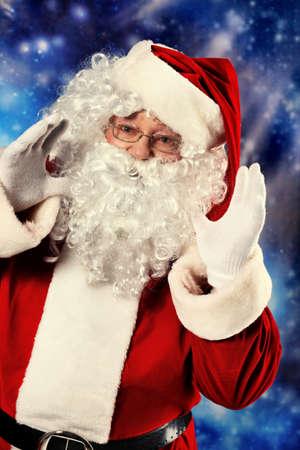 Christmas theme: Santa Claus, snowy design. photo