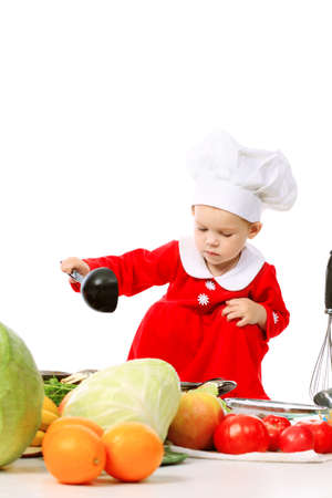 Little cook: fruits, vegetables and baby nutrition. photo