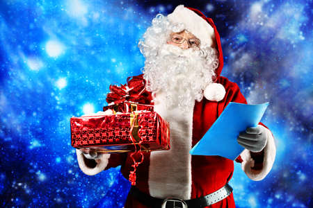 Christmas theme: Santa  gifts, snowy design. Stock Photo - 8217448