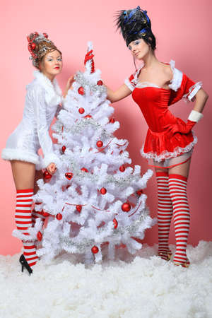 Two beautiful young women in Christmas clothes posing with New Year tree. Stock Photo - 8318839