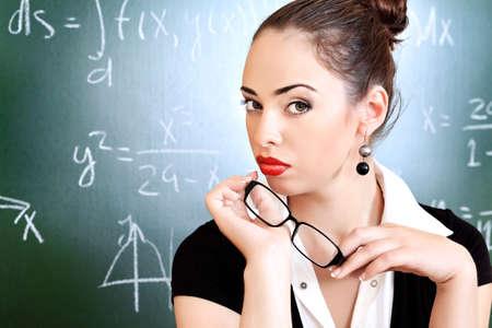 profesor alumno: Tema educativo: Retrato de una profesora de atractiva.