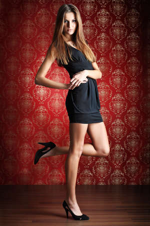 a model is posing over vintage  background Stock Photo - 8385708