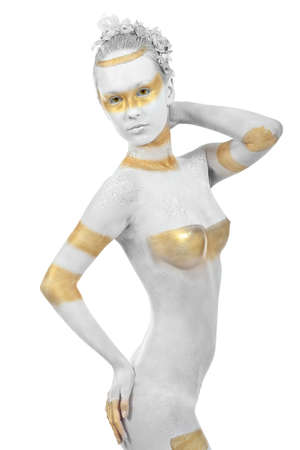 naked statue: Artistic woman painted with  white and bronze colors, over white background. Body painting project.  Stock Photo