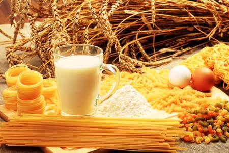 Food theme: macaroni, spagetti ingredients. photo